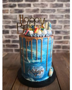 Ocean Blue and Gold Dripcake